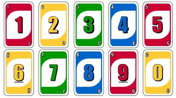 19 lá bài từ 0 đến 9 dành cho mỗi màu. Có tổng cộng 4 màu: Đỏ, Xanh dương, Xanh lá và Vàng.