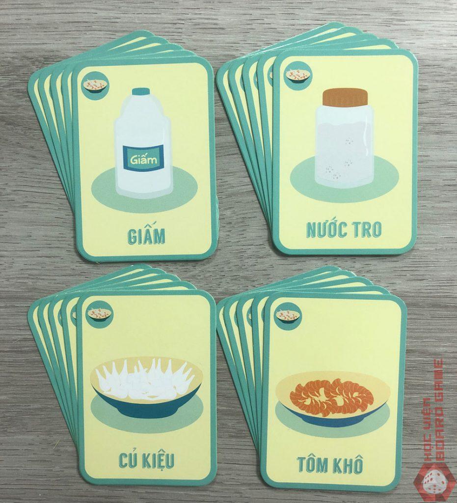 20 thẻ bộ Tôm Khô Củ Kiệu với 4 loại nguyên liệu: Tôm khô, Củ kiệu, Nước tro và Giấm.