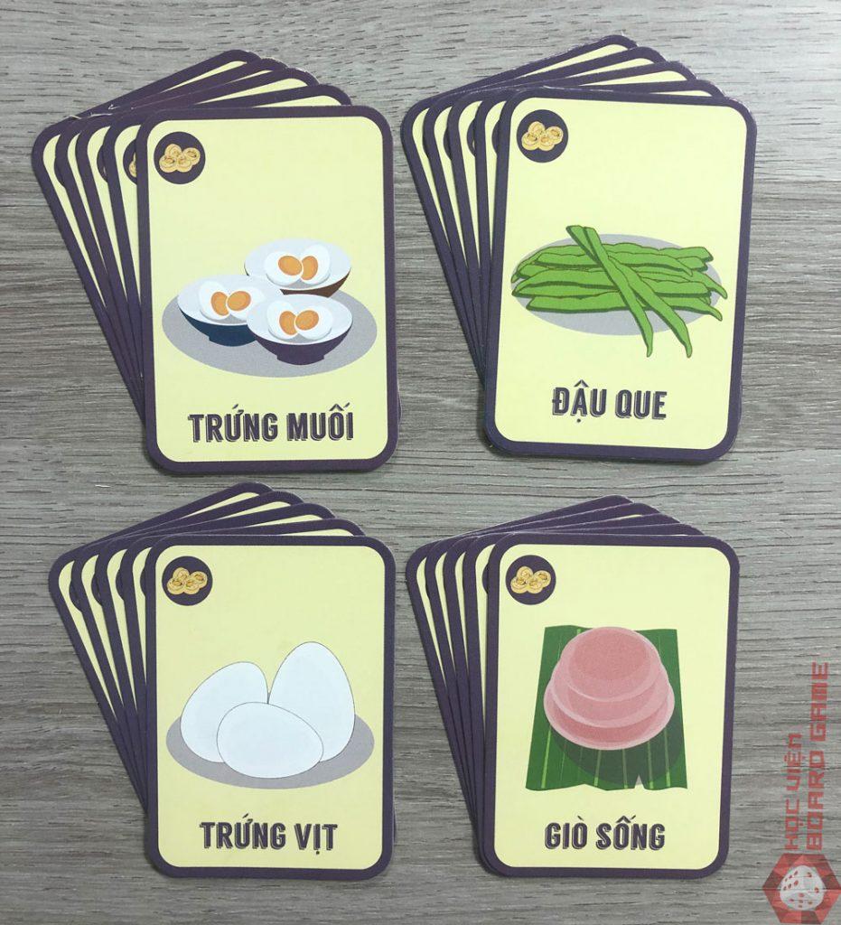 20 thẻ bộ Chả Ngũ Sắc với 4 loại nguyên liệu: Trứng muối, Đậu que, Trứng vịt và Giò sống.