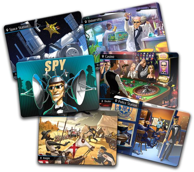 Lá bài điệp viên Spy và các lá bài chỉ vị trí.