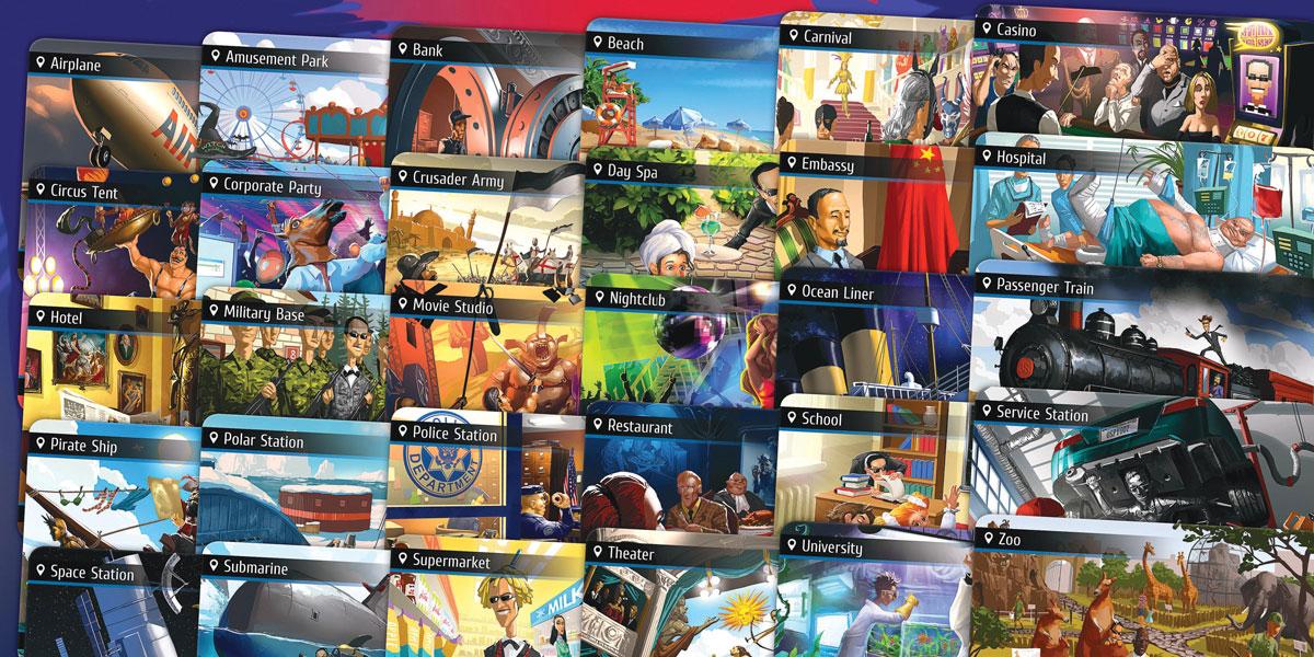 Tất cả 30 vị trí trong board game Spyfall