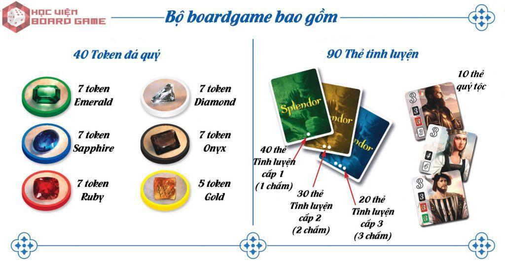 Các thành phần có trong bộ boardgame Splendor