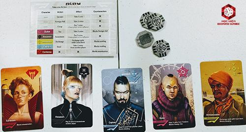 Các thành phần trong board game Coup