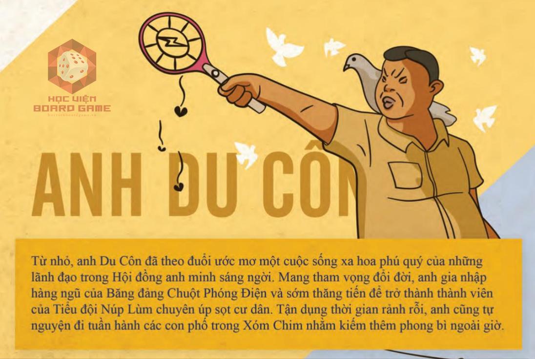 Đôi nét về nhân vật anh Du Côn trong Board game Xóm Chim